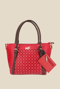 ViE Red Textured Tote Bag With Pouch