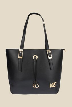 ViE Black Solid Tote Bag