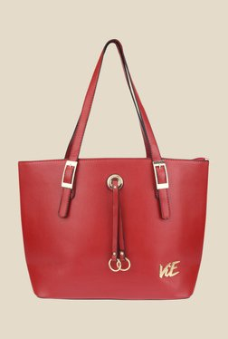 ViE Red Solid Tote Bag