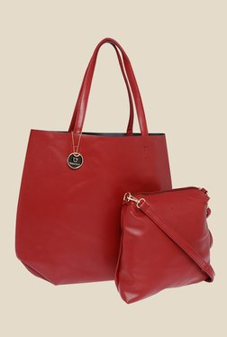 Fur Jaden Red Solid Tote Bag