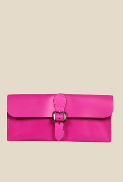 Viari Berkeley Neon Pink Leather Clutch