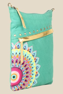 109 F Turquoise Textured Sling Bag