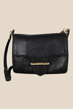 Viari Cannes Black Leather Sling Bag