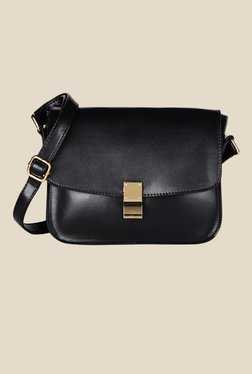 Lino Perros Black Solid Leather Sling Bag
