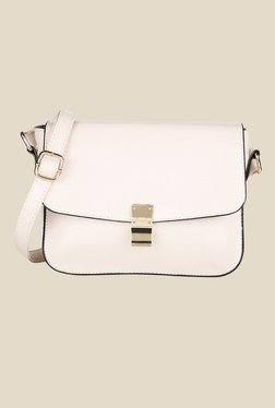 Lino Perros White Solid Leather Sling Bag