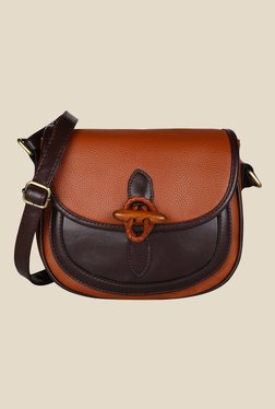 Lino Perros Brown Textured Leather Sling Bag