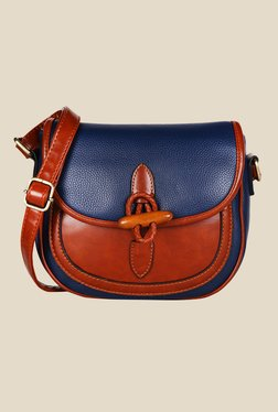 Lino Perros Blue Textured Leather Sling Bag