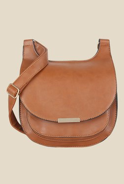 Lino Perros Brown Solid Leather Sling Bag - Mp000000000628463