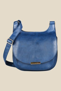 Lino Perros Blue Solid Leather Sling Bag