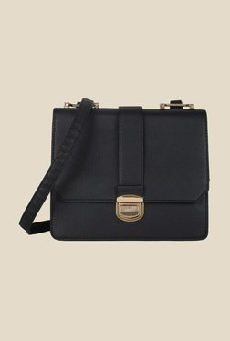 Lino Perros Black Textured Leather Sling Bag