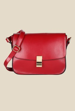 Lino Perros Red Solid Leather Sling Bag