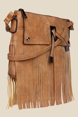 Fur Jaden Tan Textured Sling Bag