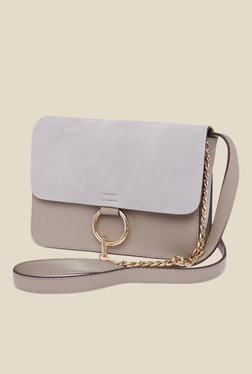 Fur Jaden Grey Solid Sling Bag