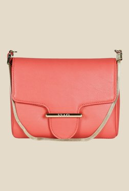 Viari Peach Leather Sling Bag