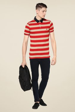 Turtle Red & Beige Striped Polo T-shirt