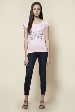 Zudio Pink Pure Cotton Floral Print T Shirt