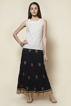 Zudio Black Printed Flared Long Skirt