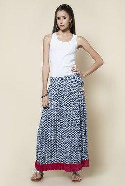 Zudio Indigo Printed Flared Long Skirt
