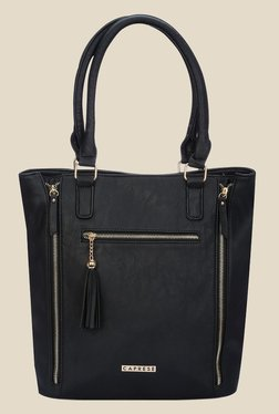 Caprese Carey Black Solid Tote Bag