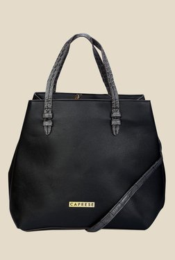 Caprese April Black Solid Tote Bag
