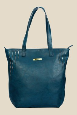 Caprese Jessica Teal Blue Double Strap Tote Bag