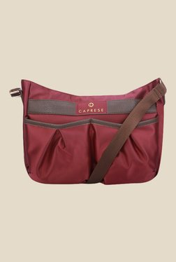 Caprese Bombi Plum Brown Nylon Sling Bag