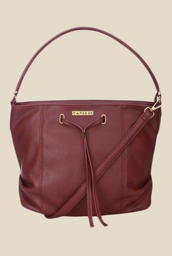 Caprese Phoenix Maroon Solid Shoulder Bag
