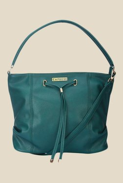 Caprese Phoenix Teal Green Solid Shoulder Bag