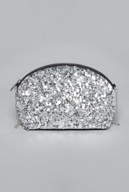 Nuon By Westside Silver Sequinned Sling Bag