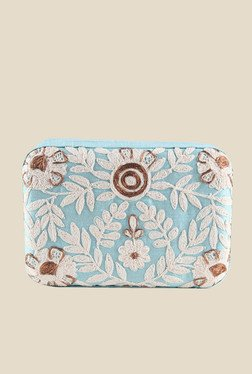 Tarusa Floral Embroidery Sky Blue Box Clutch