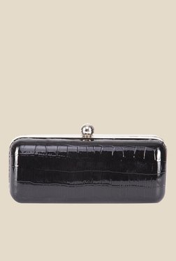 Tarusa Black Leather Textured Clutch
