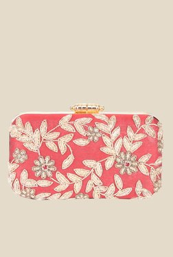 Tarusa Floral Embroidery Red Clutch