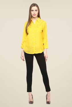 109 F Yellow Textured Full Sleeve Top