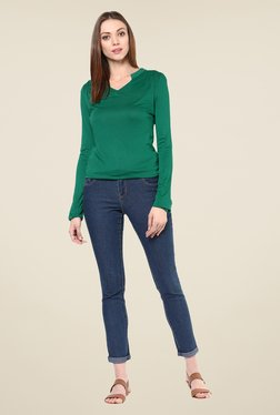 109 F Green Solid Full Sleeve Top