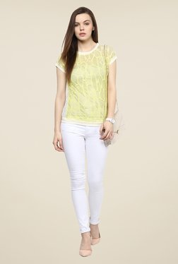 109 F Yellow Lace Polyester Top