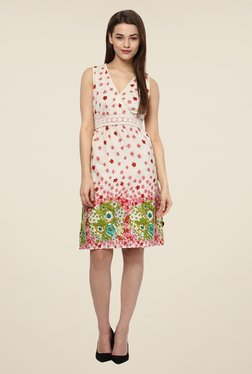 109 F Off White Floral Print Dress