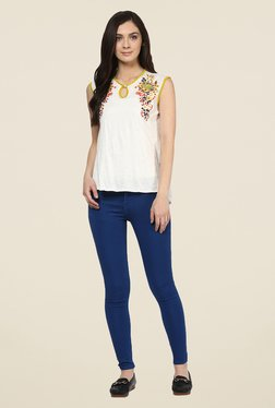 109 F White Embroidered Cotton Top