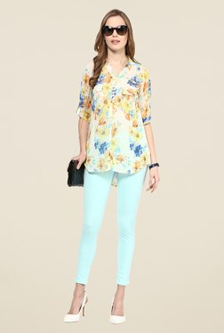 109 F Off White Floral Print Polyester Top