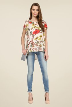 109 F Beige Printed Polyester Top