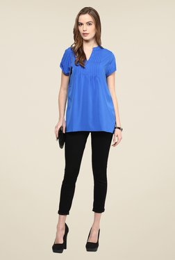 109 F Blue Solid Bank Neck Top