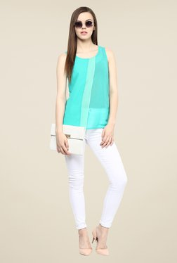 109 F Turquoise Solid Sleeveless Top