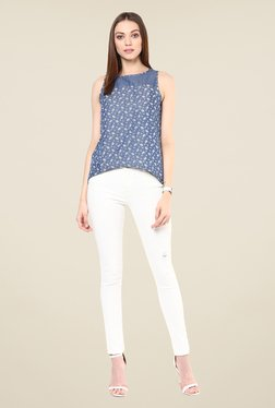 109 F Blue Printed Cotton Top