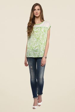 109 F Off White Printed Round Neck Top