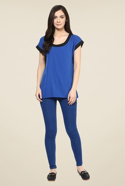 109 F Blue Solid Round Neck Top