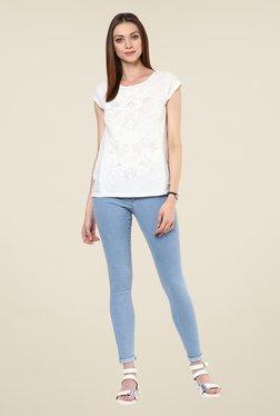 109 F White Self Print Cotton Top
