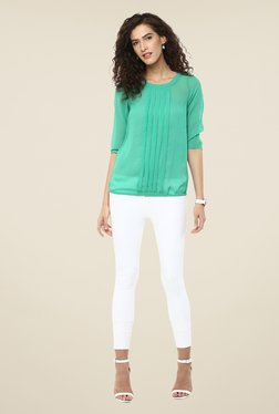109 F Green Solid Round Neck Top
