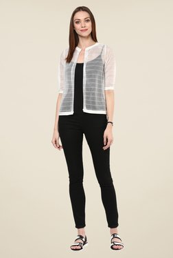 109 F White Striped Shrug