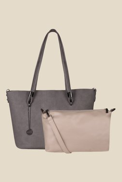 Lino Perros Grey Textured Tote Bag - Pack Of 2