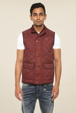 Pepe Jeans Maroon Quilted Jacket