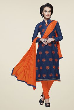 Touch Trends Navy Blue & Orange Embroidered Dress Material